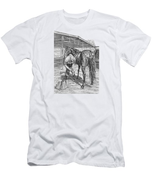 Trim And Fit - Farrier With Horse Art Print Men's T-Shirt (Slim Fit) by Kelli Swan