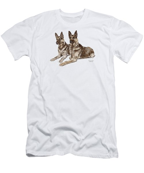 Two Of A Kind - German Shepherd Dogs Print Color Tinted Men's T-Shirt (Slim Fit) by Kelli Swan