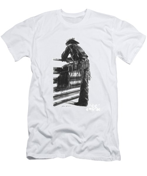 Men's T-Shirt (Slim Fit) featuring the drawing Waiting  by Marianne NANA Betts