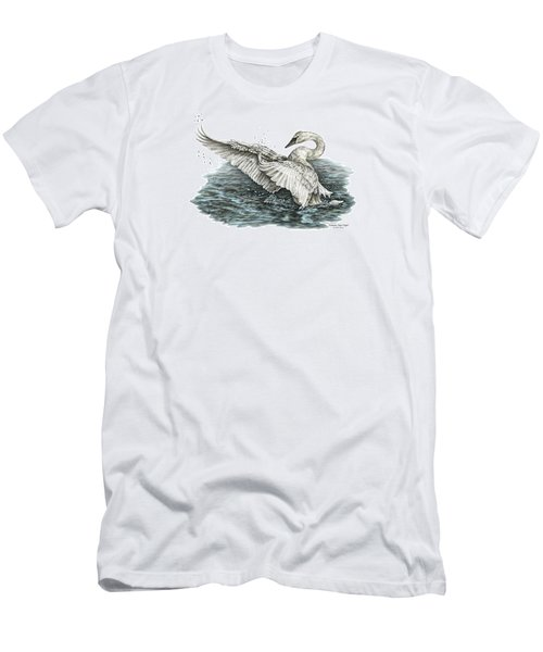 Men's T-Shirt (Slim Fit) featuring the drawing White Swan - Dreams Take Flight-tinted by Kelli Swan