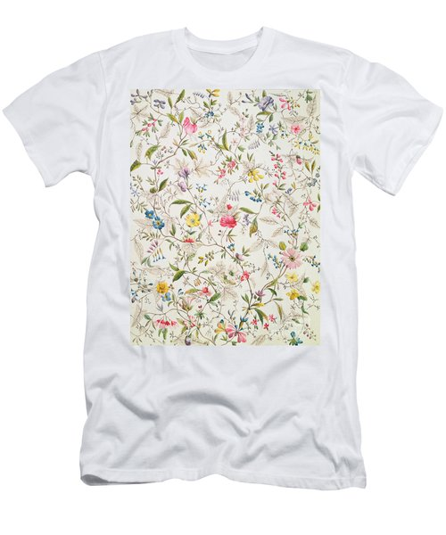 Wild Flowers Design For Silk Material Men's T-Shirt (Athletic Fit)