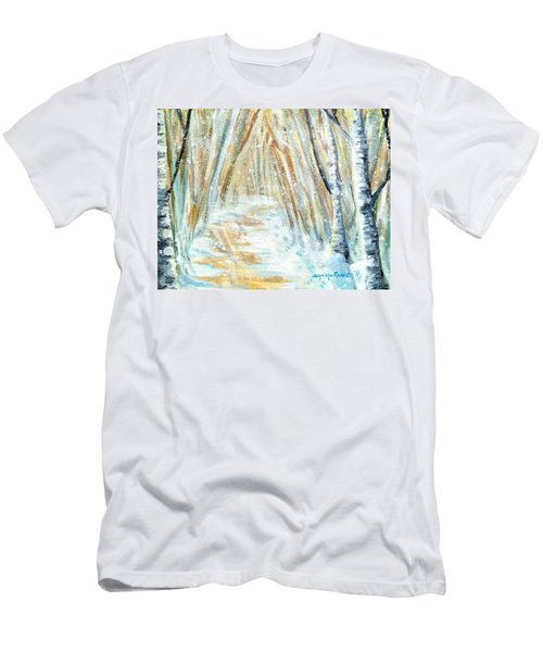 Men's T-Shirt (Slim Fit) featuring the painting Winter by Shana Rowe Jackson