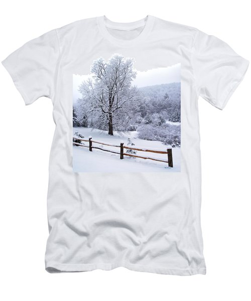 Winter Tree And Fence In The Valley Men's T-Shirt (Athletic Fit)