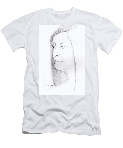 Woman In Black And White Long Hair Red Lips And Shoulders  Men's T-Shirt (Slim Fit) by Rachel Hershkovitz
