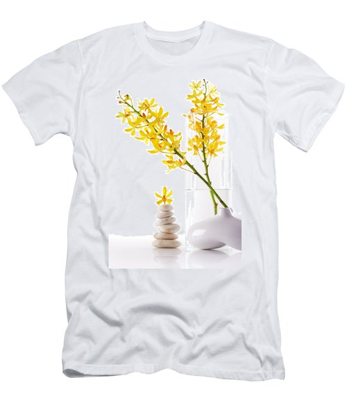 Yellow Orchid Bunchs Men's T-Shirt (Slim Fit) by Atiketta Sangasaeng