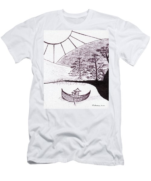 Zen Sumi Asian Lake Fisherman Black Ink On White Canvas Men's T-Shirt (Athletic Fit)