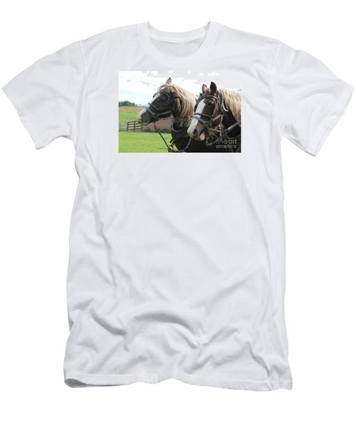 Men's T-Shirt (Slim Fit) featuring the photograph  Belgian Horses by Yumi Johnson
