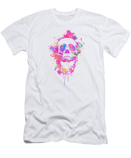 Cool And Trendy Pink Watercolor Skull Men's T-Shirt (Athletic Fit)