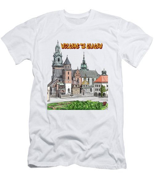 Men's T-Shirt (Slim Fit) featuring the painting  Cracow.world Youth Day In 2016. by Andrzej Szczerski