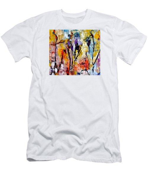 Crazy Messy Fall Yard Art Men's T-Shirt (Slim Fit) by Lisa Kaiser