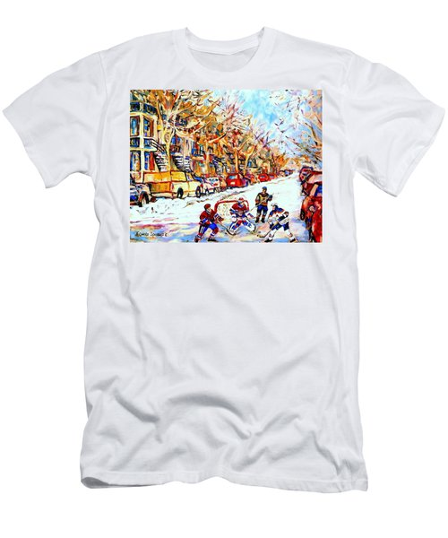 Hockey Game On Colonial Street  Near Roy Montreal City Scene Men's T-Shirt (Athletic Fit)