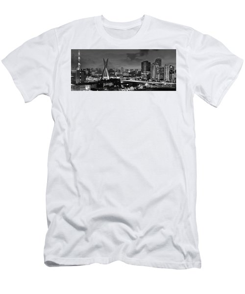 Sao Paulo Iconic Skyline - Cable-stayed Bridge - Ponte Estaiada Men's T-Shirt (Athletic Fit)