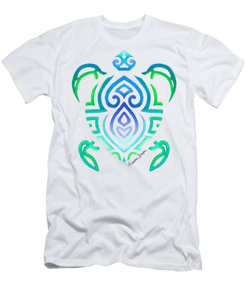 Tribal Turtle Men's T-Shirt (Slim Fit) by Heather Schaefer