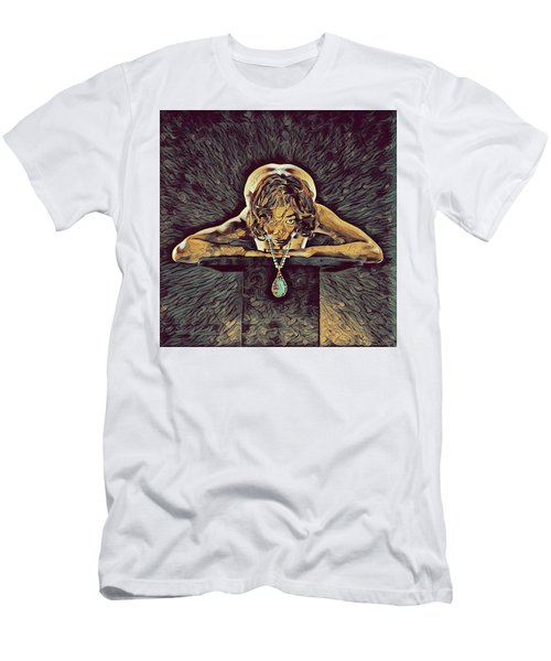 0756s-zac Nude Woman With Amulet On Tall Pedestal  Men's T-Shirt (Athletic Fit)