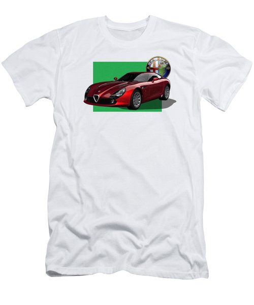 Alfa Romeo Zagato  T Z 3  Stradale With 3 D Badge  Men's T-Shirt (Slim Fit) by Serge Averbukh