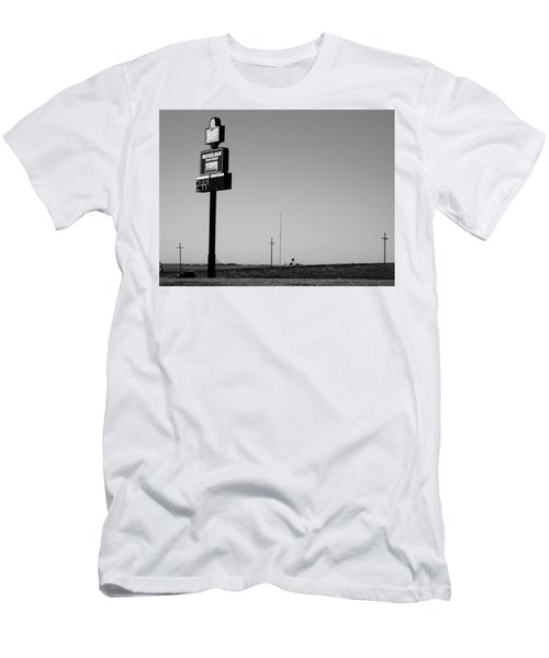 Men's T-Shirt (Slim Fit) featuring the photograph American Interstate - Kansas I-70 Bw 4 by Frank Romeo