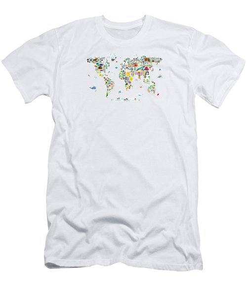 Animal Map Of The World For Children And Kids Men's T-Shirt (Athletic Fit)