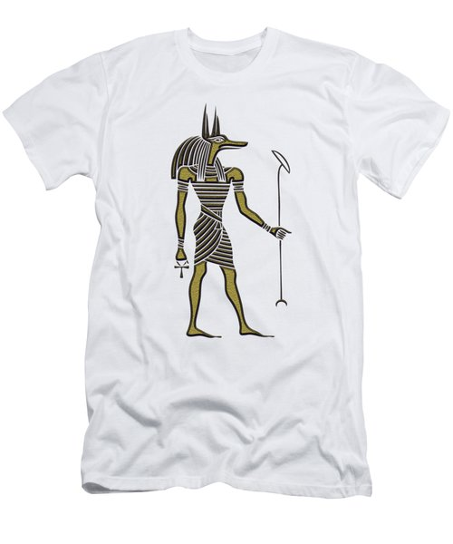 Men's T-Shirt (Slim Fit) featuring the mixed media Anubis - God Of Ancient Egypt by Michal Boubin