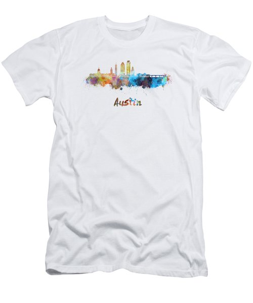 Austin Skyline In Watercolor Men's T-Shirt (Athletic Fit)