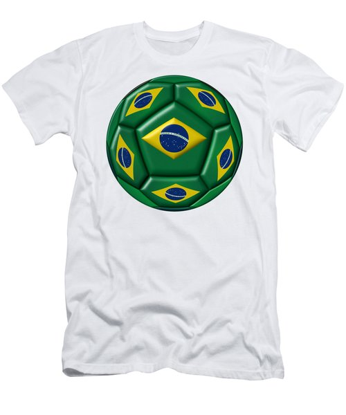 Ball With Brazilian Flag Men's T-Shirt (Athletic Fit)