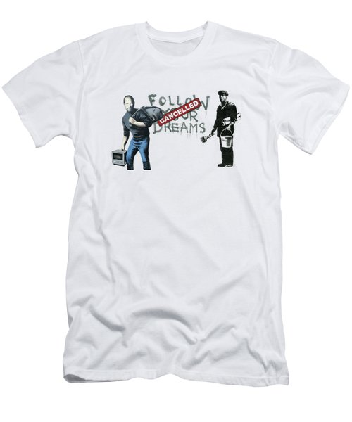 Banksy - The Tribute - Follow Your Dreams - Steve Jobs Men's T-Shirt (Slim Fit) by Serge Averbukh