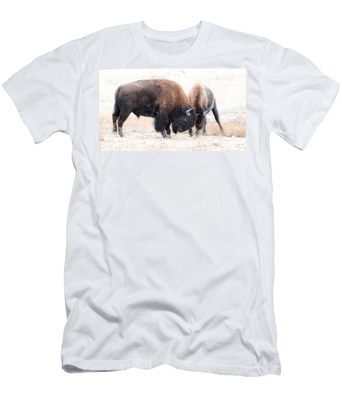 Men's T-Shirt (Slim Fit) featuring the photograph Battle Of The Bison In Rut by Yeates Photography