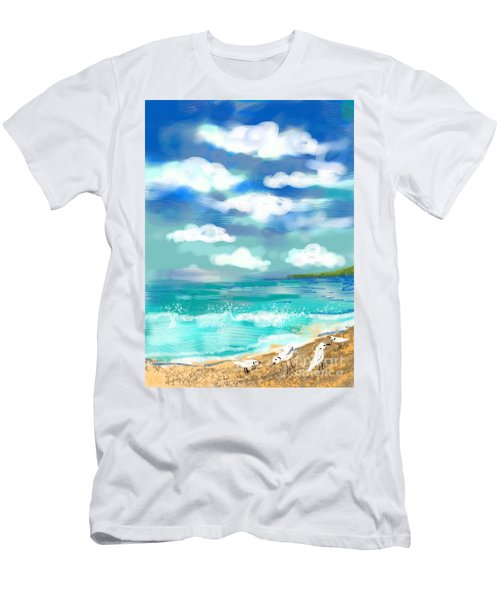 Beach Birds Men's T-Shirt (Slim Fit) by Elaine Lanoue