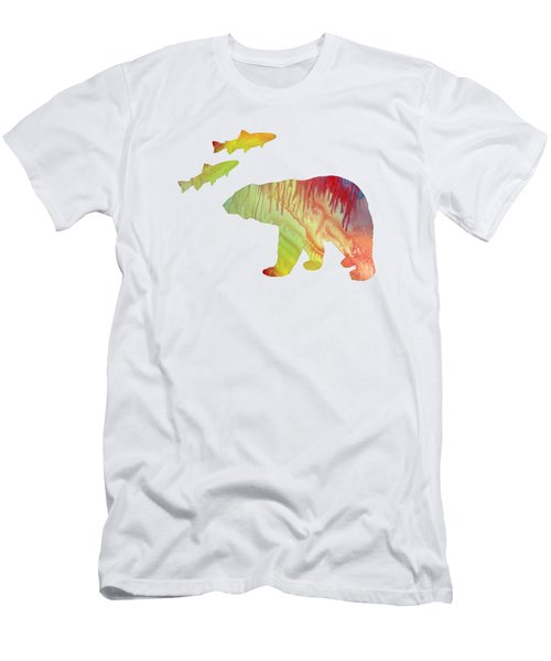 Bear And Salmon Men's T-Shirt (Athletic Fit)