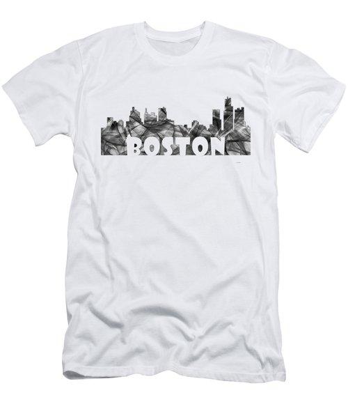 Boston Massachusetts Skyline Men's T-Shirt (Slim Fit) by Marlene Watson