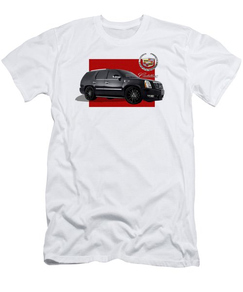 Cadillac Escalade With 3 D Badge  Men's T-Shirt (Slim Fit) by Serge Averbukh