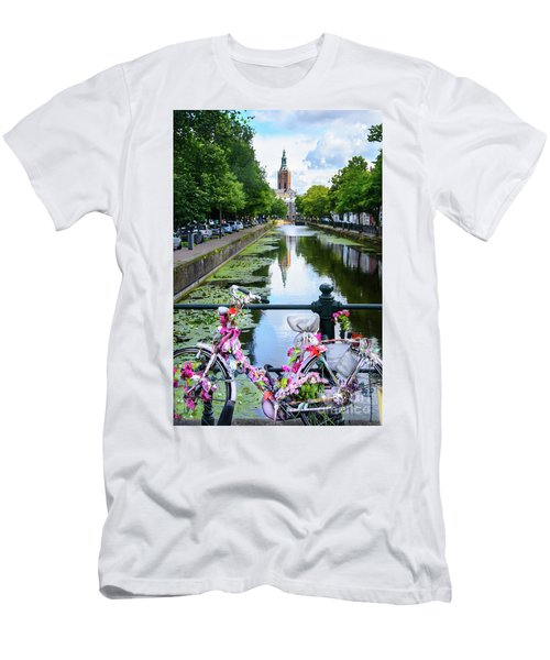 Men's T-Shirt (Slim Fit) featuring the digital art Canal And Decorated Bike In The Hague by RicardMN Photography