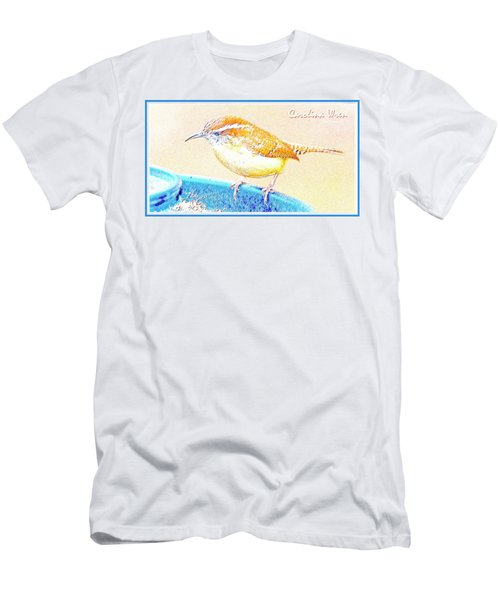 Carolina Wren, Winter Wren On Bird Feeder, Digital Art Men's T-Shirt (Slim Fit) by A Gurmankin