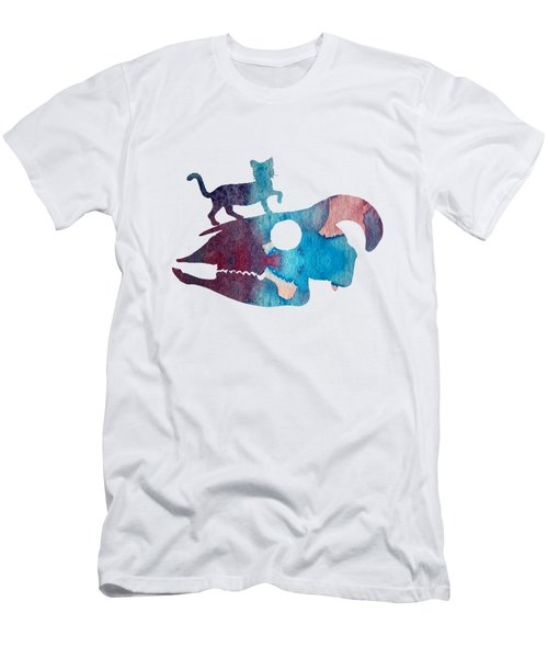 Cat On Goat Skull Men's T-Shirt (Athletic Fit)