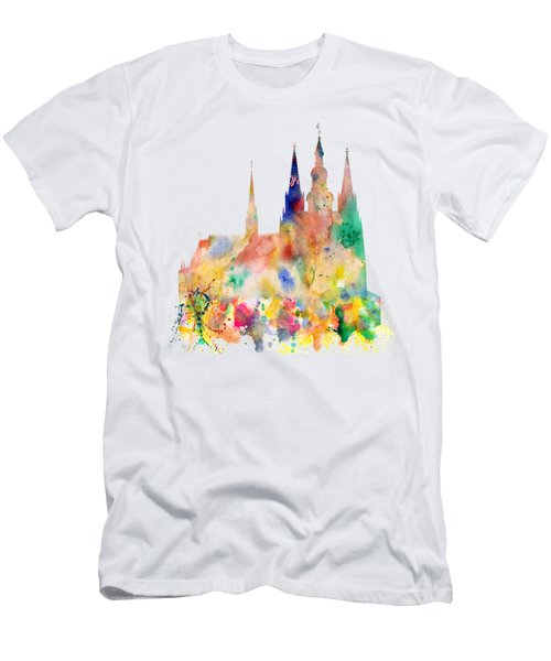 Cathedral Of Saint Vitus In The Prague Castle Watercolor Art Men's T-Shirt (Athletic Fit)
