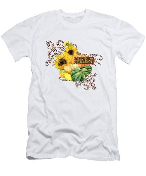 Celebrate Abundance - Harvest Fall Pumpkins Squash N Sunflowers Men's T-Shirt (Slim Fit)