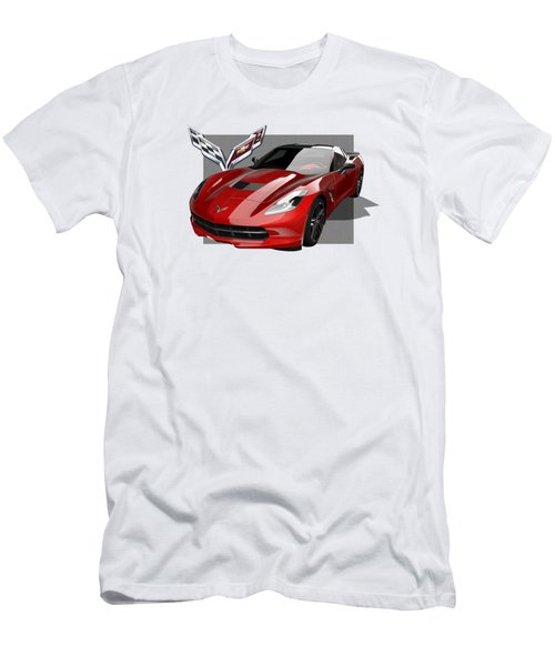 Chevrolet Corvette  C 7  Stingray With 3 D Badge  Men's T-Shirt (Slim Fit) by Serge Averbukh