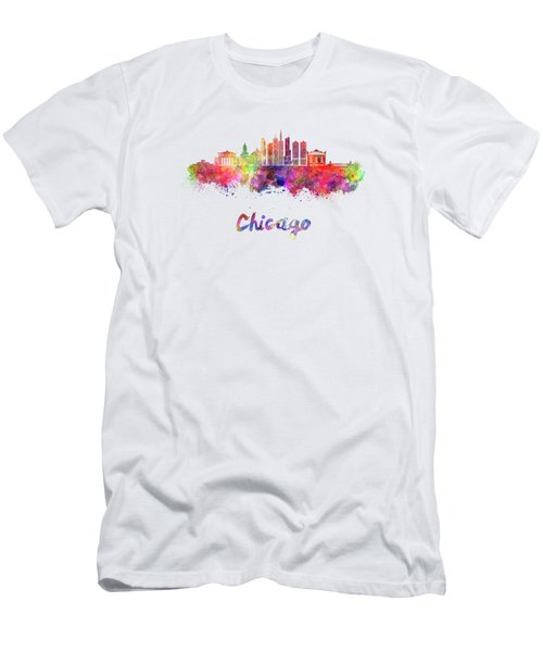 Chicago Skyline In Watercolor Men's T-Shirt (Slim Fit) by Pablo Romero