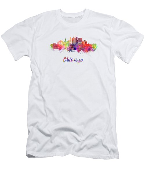 Chicago Skyline In Watercolor Men's T-Shirt (Athletic Fit)