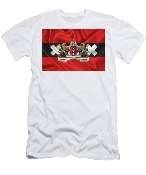 Coat Of Arms Of Amsterdam Over Flag Of Amsterdam Men's T-Shirt (Athletic Fit)