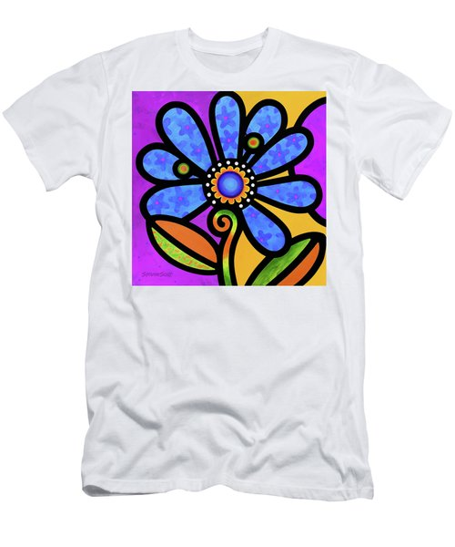 Cosmic Daisy In Blue Men's T-Shirt (Athletic Fit)