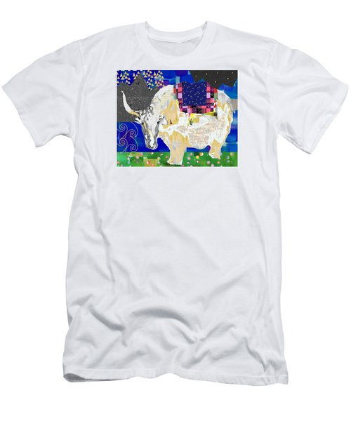 Stay Curious Cow Collage  Men's T-Shirt (Slim Fit) by Claudia Schoen