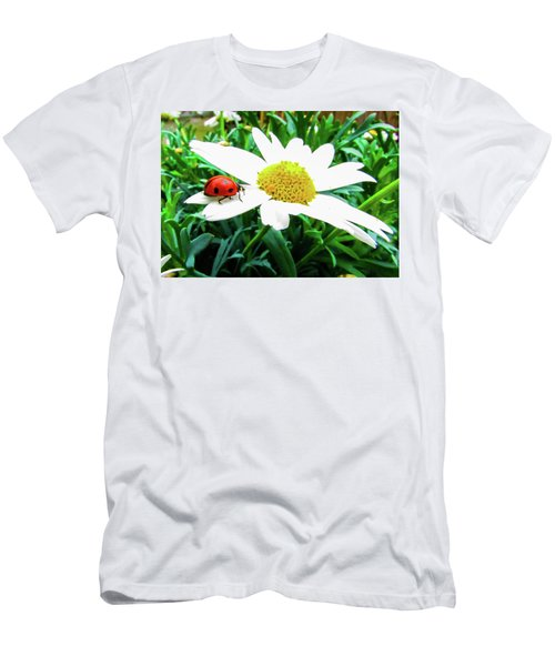 Daisy Flower And Ladybug Men's T-Shirt (Athletic Fit)