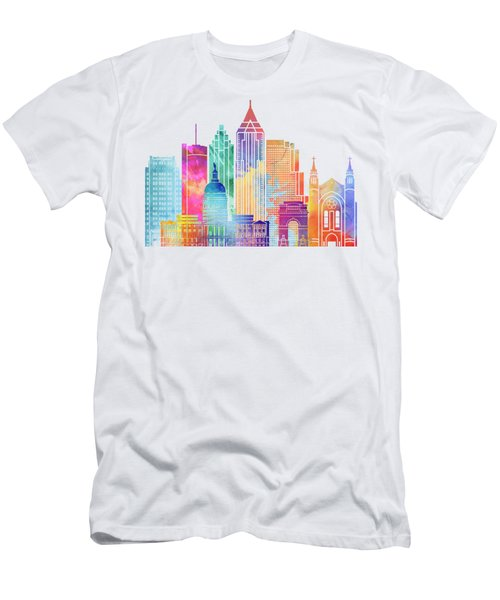 Atlanta Landmarks Watercolor Poster Men's T-Shirt (Athletic Fit)
