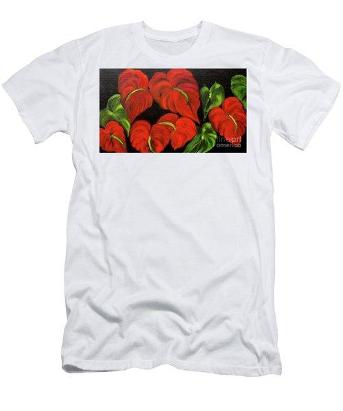 Dancing Anthuriums Men's T-Shirt (Slim Fit) by Jenny Lee