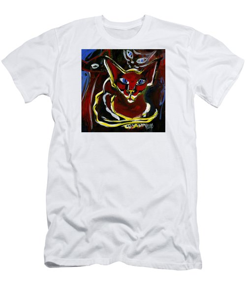 Foreign White Cat Men's T-Shirt (Slim Fit) by Leanne WILKES