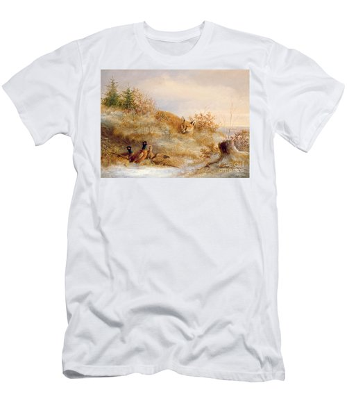 Fox And Pheasants In Winter Men's T-Shirt (Athletic Fit)