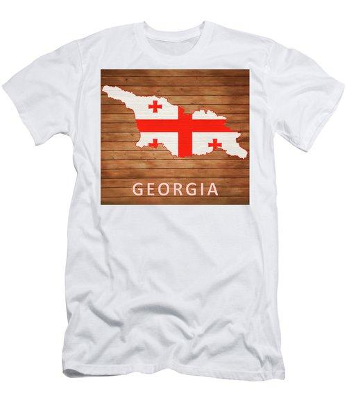 Georgia Rustic Map On Wood Men's T-Shirt (Athletic Fit)