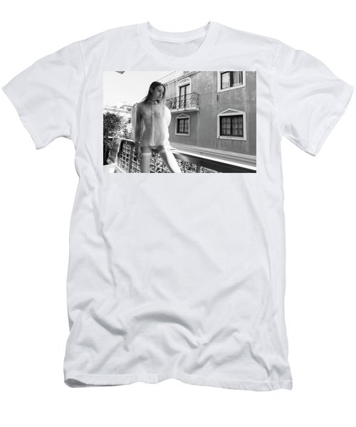 Men's T-Shirt (Athletic Fit) featuring the photograph Girl On Balcony by Michael Maximillian Hermansen
