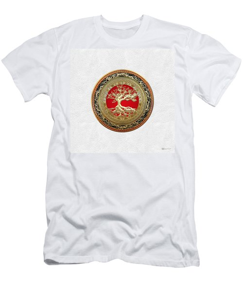 Gold Celtic Tree Of Life On White Leather  Men's T-Shirt (Athletic Fit)