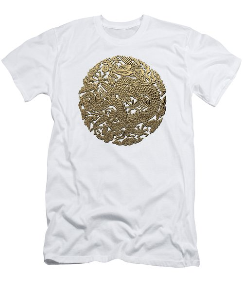 Golden Chinese Dragon White Leather  Men's T-Shirt (Athletic Fit)
